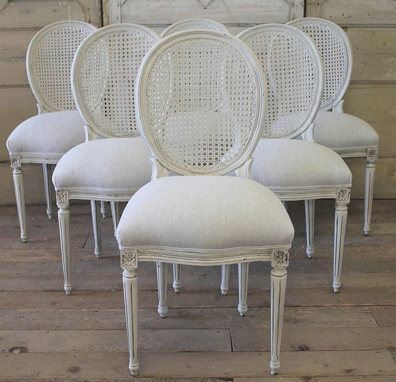 Items Similar To Antique French Cane Chairs In Linen On Etsy