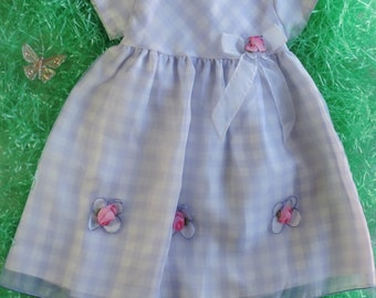Pastel Princess Vintage Purple and White Gingham Plaid Print Easter Spring Dress toddler girls Short Sleeves and Pink Flowers in size 3T