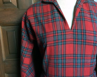 1950s Red and Gray Plaid Day Dress by Westover Size S