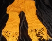 Golden Yellow Ribbed Scarf with Fringes, Chunky Scarf, Long Ribbed Scarf
