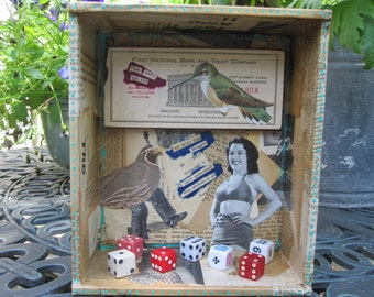 3D mixed media assemblage, collage, found object art, funky junk