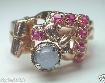 Antique Retro Star Sapphire Ruby Rose Gold Ring