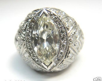 Antique Marquise Diamond Platinum Art Deco Engagement Ring