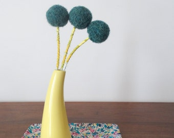 Large Felt Flowers - Dark Teal Wool Flowers - Pompom Flower bouquet - Small Bouquet - Teal Floral Arrangement - Fake Craspedia - Billy Balls