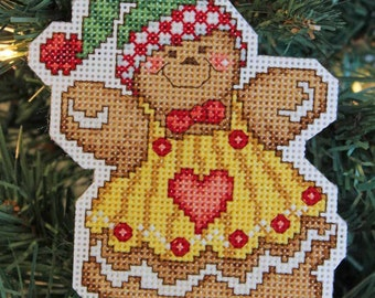 Handmade Cross Stitch Gingerbread Girl Christmas Ornament