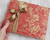 Wedding Guest Book, Party Guest Book, Red Bohemian Floral, {MADE upon ORDER}