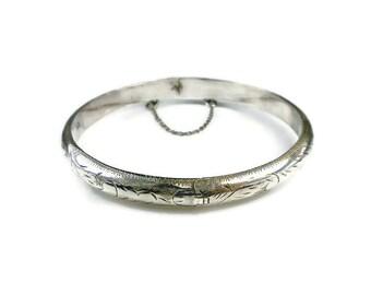 Sterling Bracelet, Embossed Bangle, Skinny Thin, Stacking Bracelet, Silver 925, Vintage Jewelry