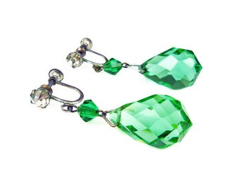 Art Deco Earrings, Green Crystal, Faceted Briolette, Clear Rhinestone, Antique Jewelry