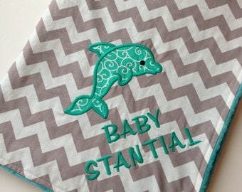 Personalized Baby Blanket- Dolphin Nursery Blanket- Sea Animal Baby Blanket- Minky Baby Blanket- Chevron Blanket