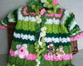 Hand crochet baby cardigan, Hand knitted baby Sweater,green newborn jacket, Crocheted dress baby handmade, READY TO SHIP 0-6 Months