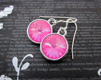 Bright Pink Earrings -- Hot Pink Drops -- Silver & Hot Pink Earrings -- Hot Pink Crystal Earrings -- Hot Pink Swarovski Earrings -- Rivolis