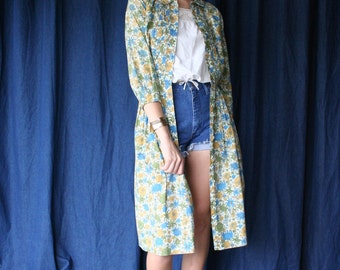 1950's cotton Dress / Shirt Button Down Floral Dress / Mustard Yellow and Blues and greens / Long Sleeves Dress
