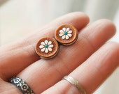 Floral Leather Stud Earrings - Gunmetal or Silver Posts - Hand painted leather jewlery - Daisy - Pick stain color & accent color