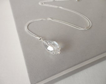 Silver necklace silver chain necklace sparkly necklace pendant necklace minimalist