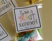 Printable- PDF- Have a Great Summer gift tag- end of school, summer break, Teacher or Student Gift Idea
