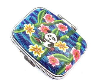 2 Compartment Polymer Clay Covered Pill Box, Pill Case, Colorful Panda Design