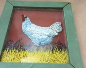 Reverse Painted Rooster Shabby Chic Rooster Art