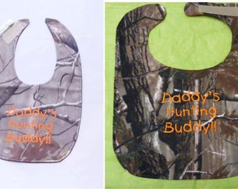 Daddy's Hunting Buddy - SMALL or LARGE  Baby Bib - FREE Shipping to U.S.