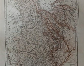 Circa 1910 Siberia map. Great for framing! Free shipping. 8 1/2 x 11 paper image 7x10.