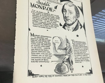 Book page print . James Monroe the advocate fir Anerican Independence, President. 7 x11 Great for framing for the collector. History.