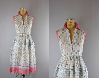 1940s Vintage Dress l 40s Sheer Floral Print Simple Dress