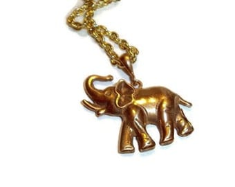 Jewelry, Chain Necklace, Bronze Elephant Hanging on Chain, Mans Necklace, Handmade, Hand Cast, Dad Gift Necklace, Unisex Necklace, Gift