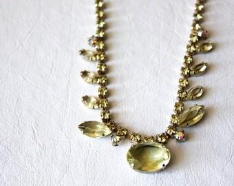 50s vintage rhinestone necklace / pale yellow crystal, sparkle, adjustable choker