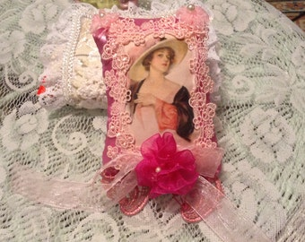 6 inch Lavender sachet with image of Victorian lady in large hat