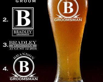 Personalized Pilsner Mug Glass Groomsman Gift Engraved Beer Mug