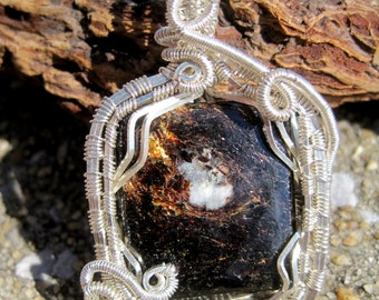 Ancient Wisdom///Astrophyllite and Sterling Silver Wire Wrap Pendent, One of a Kind, Handmade, Art