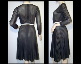 1970s jet black sheer dress ~ Small ~ Made in Canada ~ full permapleat skirt ~ long sleeve knee length shirtwaist look belted ~ black friday