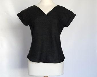 Black Linen Top