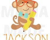 Boy's Back to School Shirt, Boys Monkey Back To school Shirt, Monkey back to school shirt, Boys First Day of school shirt, monkey school tee