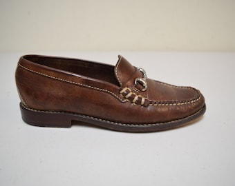 VINTAGE COLE HAAN Brown Leather Bit Moccasin Loafers Brazil Size 6 1/2 M