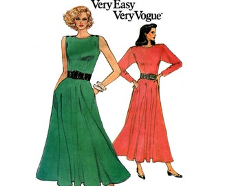 80s Flowing Dress Pattern Vogue 9897 Bust 31 1/2 - 34 inches Size 8 10 12 UNCUT Factory Folded