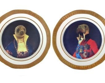 """Mr. and Mrs. Pinnipedia - Altered Vintage Plate Set 7.5"""""""