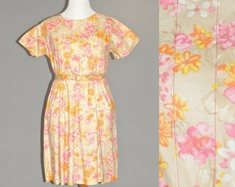 Vintage 60s Plus Size Dress, 1960s Cotton Dress, 60s Floral Dress XL Size 18