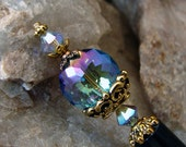 Blue Purple Crystal Hair Stick with Swarovski Provence Lavender AB Crystal and Gold Accents - Bellanca