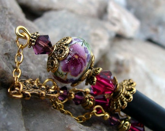 Purple Pink Floral Geisha Style Hair Stick with Amethyst Purple and Ruby Red Swarovski Crystals - Tressa