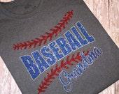 Baseball Grandma Glitter Bling tshirt baseball mom