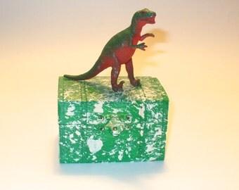 Dinosaur Decor, Small Wood Box with a Dinosaur on Top