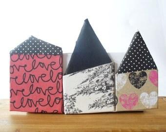 Home Sweet Tiny Home, Folk Art, Three Tiny Houses  Shelf or Wall Decor