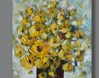 """Original Oil Painting Still Life  Abstract Art  Home & Living Yellow Painting Gift 8""""x10"""" Wall Art"""