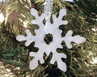 Snowflake Blue Glass Christmas Ornament