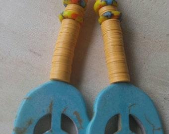 Peace earrings/Humanatarian earrings/ world peace/   african beaded turqoise and orange beaded earrings/