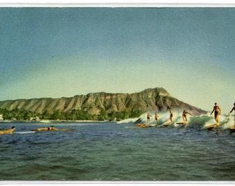 Surfing Waikiki Honolulu Hawaii postcard