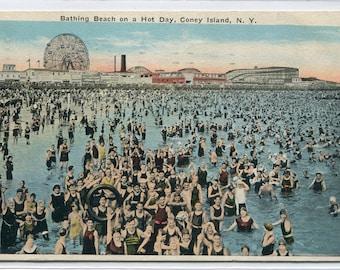 Bathing Beach Coney Island New York City NY 1925 postcard