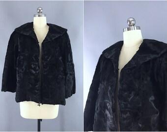 Vintage 1950s Fur Jacket / 50s Fur Coat / Swing Coat / Short Fur Coat / Black Fur Formal Evening Jacket