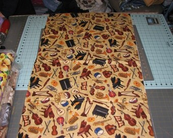 Choice of 1/2 yd or 1 yd music instruments  Fabric Cream Background Quilt Cotton Fabric Maine