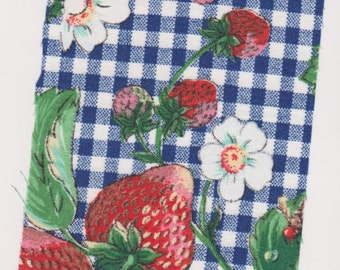 Fat Quarter, 1/2 yd or 1 yd Strawberries Strawberry Blossoms Cotton Fabric Blue and White Check Background Quilting quality sewing crafting